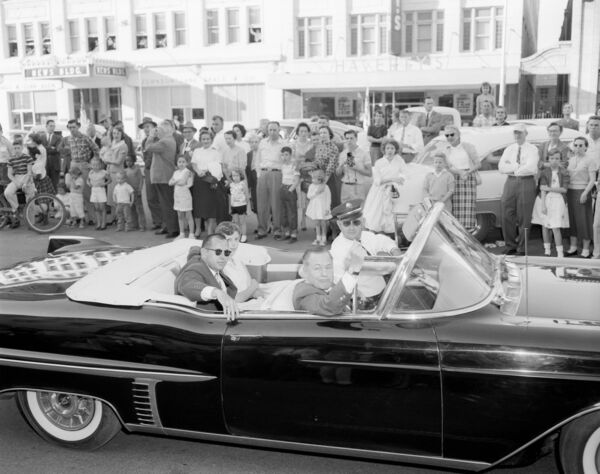 BACK IN THE DAY: Bobby Jones and Augusta mayor Hugh Hamilton during a parade ahead of the 1957 Masters.Picture: Augusta National/Getty Images